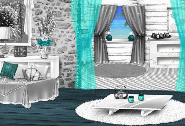 deco salon bleu turquoise et gris pr l vement d 39 chantillons et une bonne id e de. Black Bedroom Furniture Sets. Home Design Ideas